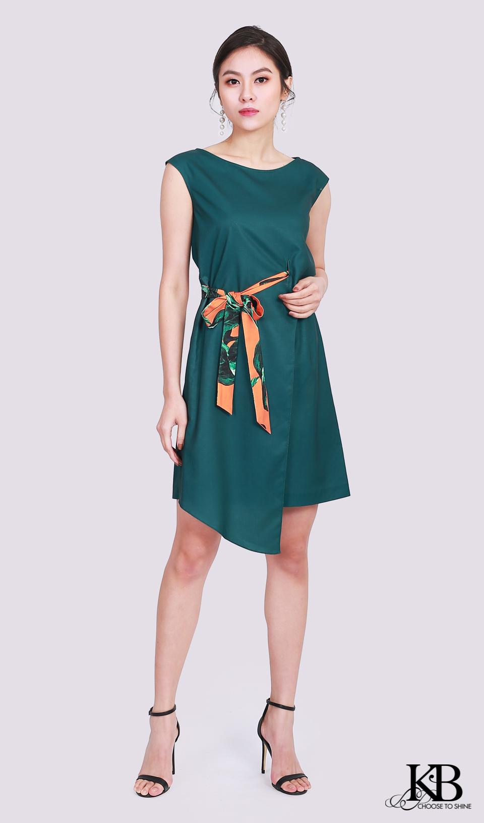 Đầm đai eo sườn nơ