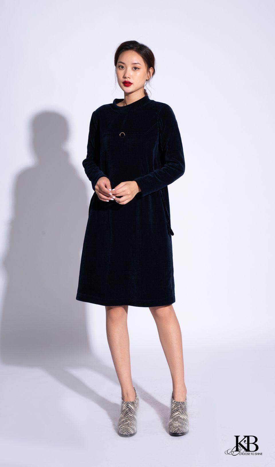 Đầm dài tay ôm dây dút eo