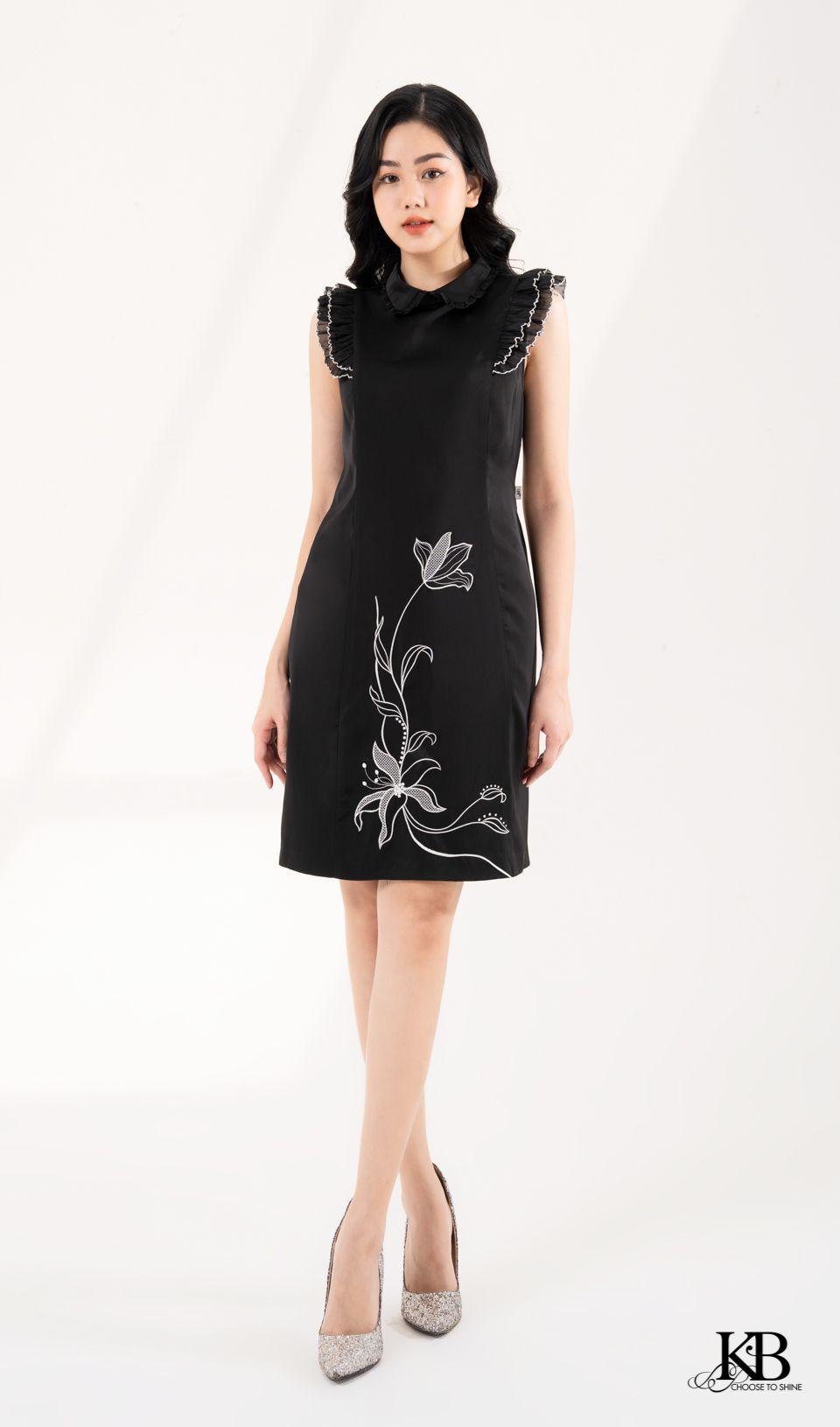 Đầm tay bèo in bông hoa
