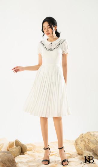 Đầm cổ bẻ lé ren tay chun