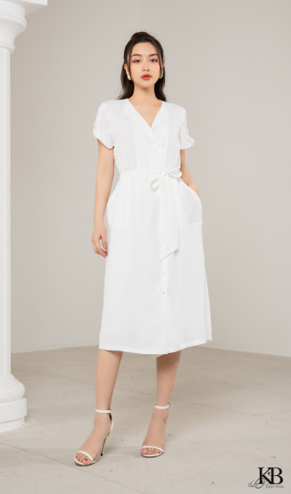 Đầm cổ bẻ bản to, đai eo chun