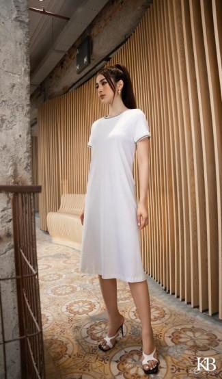Đầm cotton dai tay bo.